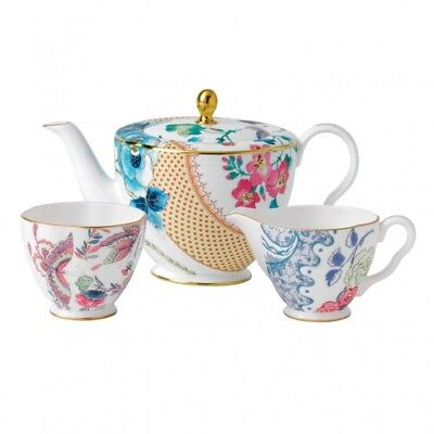 Wedgwood Butterfly Bloom Teapot Sugar Bowl & Creamer 3 PC Tea Set