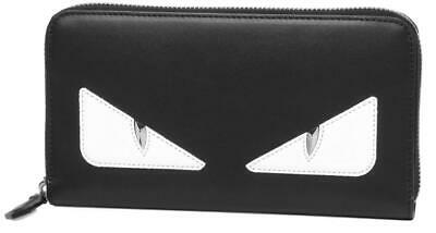 3530a58257a New Fendi Current Black Leather Bag Bugs Long Zip Around Clutch Wallet W box