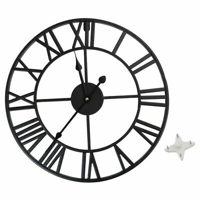 Antique 40/60cm Large Roman Wall Clock Vintage Style Iron Metal Skeleton Numeral