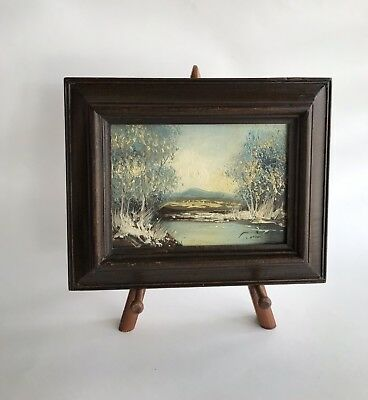 "Vintage Oil Landscape Painting on 5""x7"" Board Signed Framed ~ Aqua Brown Retro"