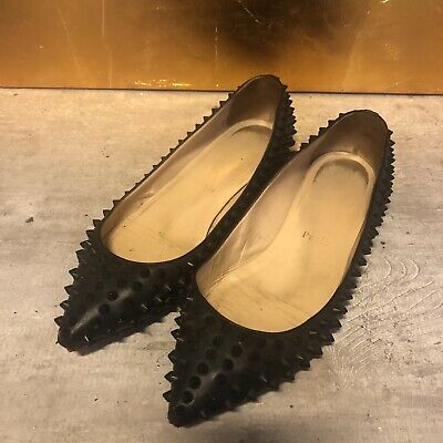 865074ca859 Christian Louboutin all black flat pigalle ballerinas pointed toe rockstuds  38