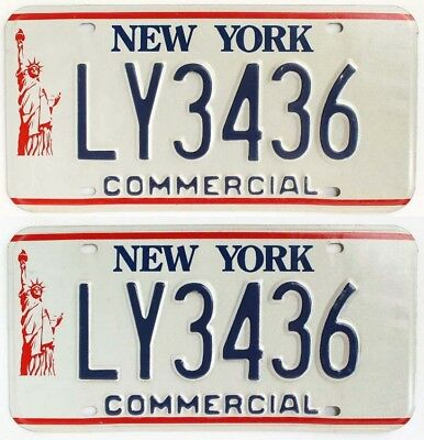 "Unused NOS New York 1986-2000 ""Statue of Liberty"" TRUCK License Plate Pair"
