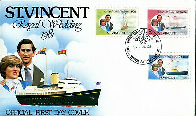 1981 St Vincent - Yachts. Royal Wedding of Prince Charles and Lady Diana. FDC