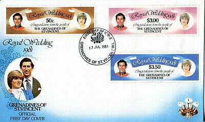 1981 Genadines St Vincent. Royal Wedding of Prince Charles and Lady Diana. FDC