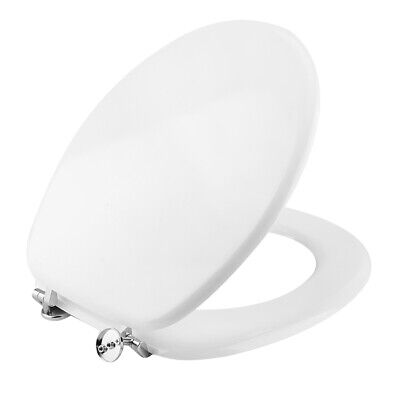 White MDF Luxury Round Easy Clean Toilet Seat Top Fix Metal Hinges Heavy Duty