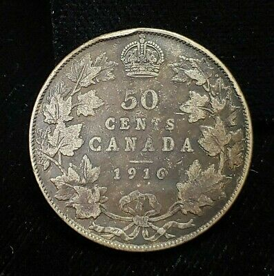 1916 Canada 50 Fifty Cents 50C Canadian .925 Silver Coin KM# 25 George V