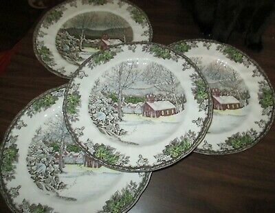 Johnson Brothers The Friendly Village 4 The School House Dinner Plates 10 1/2 In
