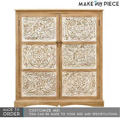 MADE TO ORDER Hand Carved Solid wood Cabinet Cupboard Almirah Whitewash 120cm