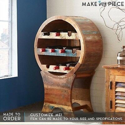 MADE TO ORDER Reclaimed boat wood Shelf Wine Rack round bottle stand bar cabinet
