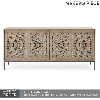 MADE TO ORDER French Carved Solid wood Media Console Entertainment TV Unit Brown