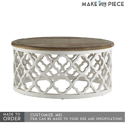MADE TO ORDER BRISTOL Bamileke solid Carved Round Coffee table Shabby White 80cm
