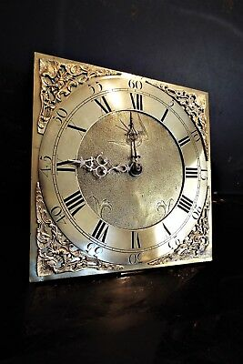Antique Grandfather Clock Brass Face/ Dial With bird cage Movement