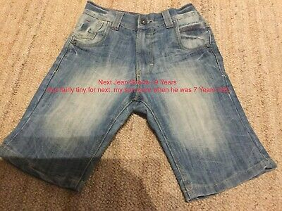 Boys Age 9 Next Cotton Jean Shorts With Elasticated Adjustable Waist Immaculate