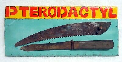 """Jeff Brown original artwork """"PTERODACTYL"""" collage found objects and materials un"""