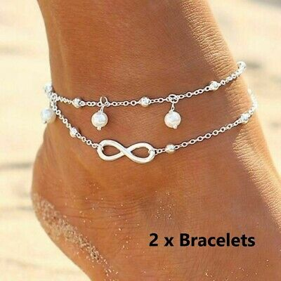 Women Ankle Bracelet Sterling Silver Plated Anklet Chain Infinity Pearled Beads