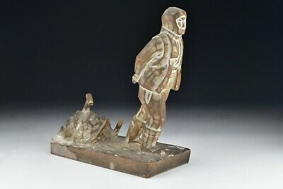 Signed Chinese Qing Dynasty Carved Wood Man in Winter Clothing