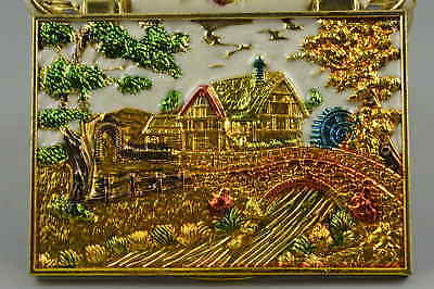 AAA Fine Collect Cloisonne Carve Village Scenery Rare Noble Ring Jewel Box Gift