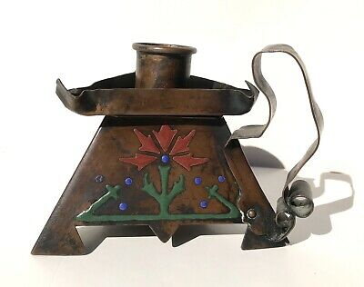 Arts And Crafts Shop Buffalo Copper and Enamel Candle Holder