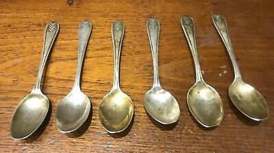 Vintage Art Deco Solid STERLING SILVER COFFEE SPOONS - VINERS SHEFFIELD 1937