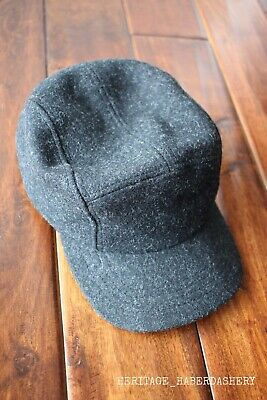 Filson 5-Panel Charcoal Wool + Leather Cap One Size MSRP  75 Hat Mackinaw c66838b12077