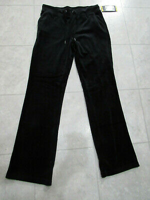 NWT Gloria Vanderbilt Womens Velour Pants-Color-Black-Size-Medium