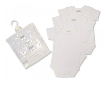 Pack of 3 Nursery Time White 100% Cotton Boys Girls Baby Vests Baby Grows