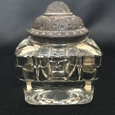 "Antique Victorian ~ Glass Inkwell/Bottle With Removable Lid - 2 1/8"" Tall"