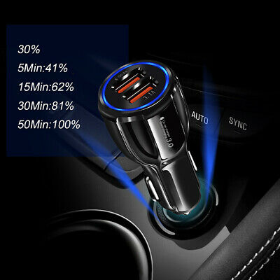 Dual Port Car Charger QC 3.0 Fast Charging USB Car Charger