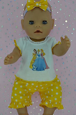 "Play n Wear Doll Clothes To Fit 17"" Baby Born POLKA DOT PANTS~TOP~HEADBAND"