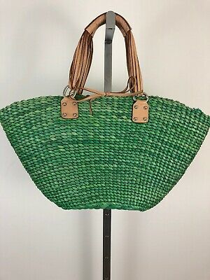 baa4f6849c12 Banana Republic Large Green Woven Straw Tote Beach Bag With Leather Handles