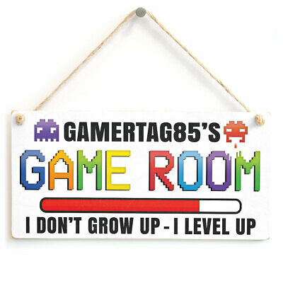 Personalised Game Room Sign Retro Gaming Door Plaque Gamer Tag Gifts For Gamers