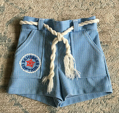 Vintage Carter's Toddler Boy Blue & White Striped Nautical Shorts Size 3T