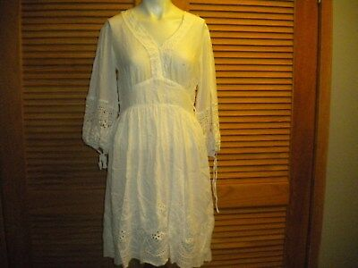 5847e3f7e9 Monoreno Tunic Dress Bell Sleeve Almost White Lace Eyelet Lace V-Neck Med  7206