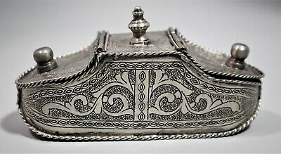 19th Century white metal Persian Indian snuff tobacco box two compartments