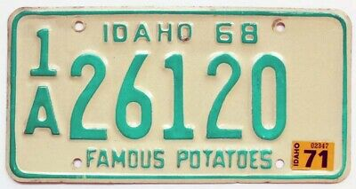 Vintage Idaho 1968 1971 License Plate, 26120, Ada County, High Quality