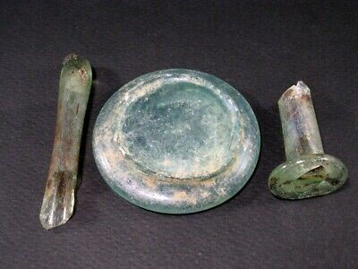 Rare Lot Of 3 Pcs. Roman Period Glass Fragments, As Found+++