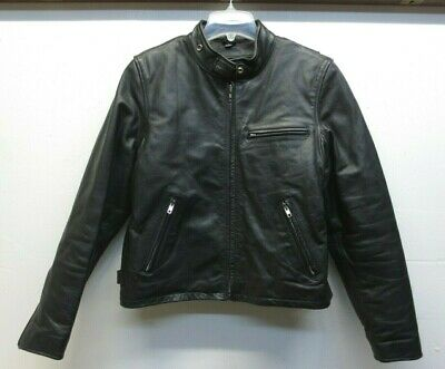FMC Black Leather Motorcycle Cafe Racer Classic Jacket EUC Removable Lining Sz L
