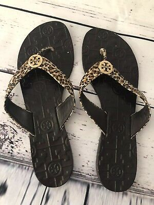 515870bf6 Tory Burch Thora Leather Thong Flip Flop Sandals Sz 8 Leopard Print Gold  Shoe