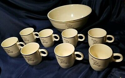 Vintage TOM & JERRY Punch Bowl Set Universal Cambridge Cream Gold Pottery