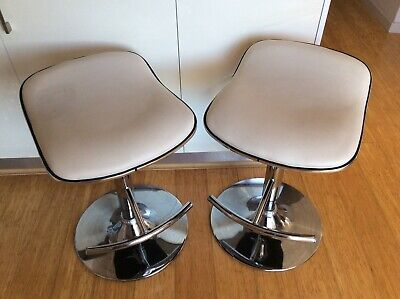 2 x Bar Stool Kitchen Swivel Barstool Leather Dining Chairs Gas Lift White