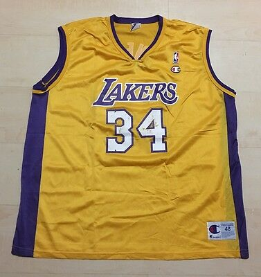 NBA Los Angeles Lakers Shaquille O Neal Vintage Champion Jersey Size 48  Men s XL b4f603e99