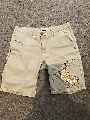 Scotch & Soda - Boys Beige/Brown Shorts with a splash of Orange - Size 14 - $37