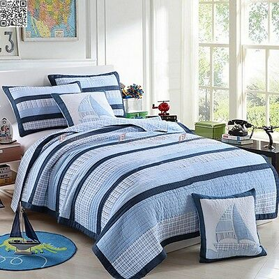 100% Cotton Coverlet Quilted Bedspread Set Stripe Single/Double Size Bedding New
