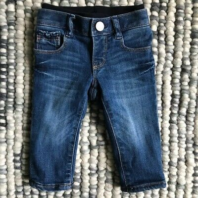 GAP 1969 Baby Girls Size 3-6 Months Pink Fleecy Lined Denim Jeans Elastic Waist