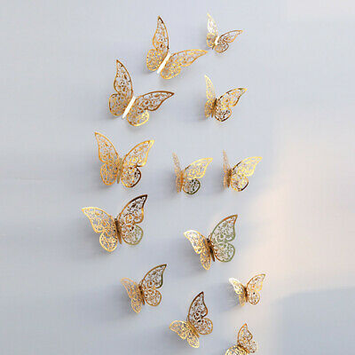 12 Pcs 3D Hollow Wall Stickers Butterfly Fridge for Home Decoration PO