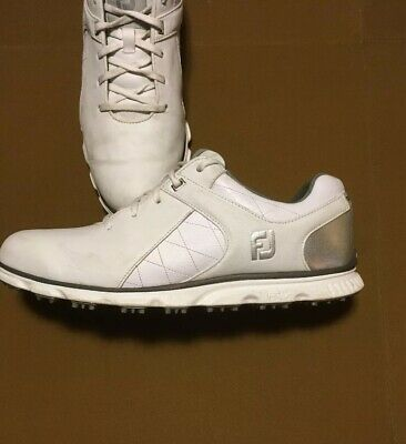 Mens Footjoy FJ Golf Shoes Pro SL White Silver Leather Spikeless 53579 12m c8238295b3f