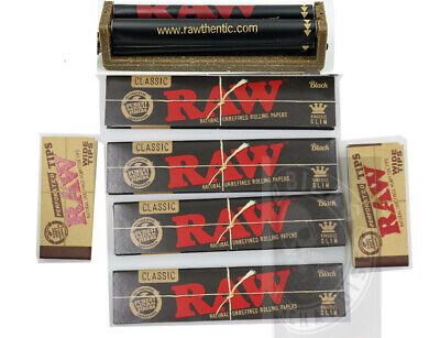 RAW Bundle 7 Items BLACK King Size Raw Rolling Papers+2Raw Tips+Raw 110mm Roller