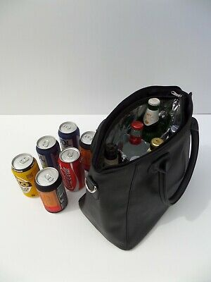Wine Bottle Insulated Cooler Bag Tote Carrier Purse Handbag BLACK