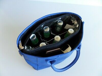 Wine Bottle Insulated Cooler Bag Tote Carrier Purse Handbag BLUE