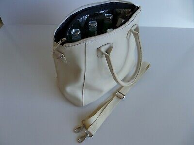 Wine Bottle Insulated Cooler Bag Tote Carrier Purse Handbag BEIGE